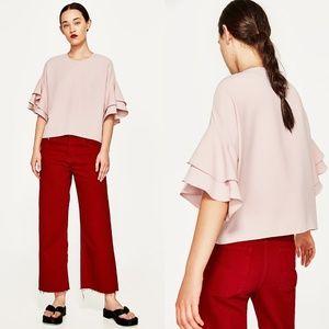 Zara Ruffle Sleeve Frilled Top